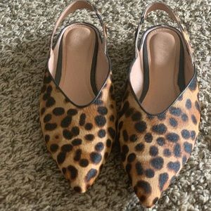 Leopard sling back flats